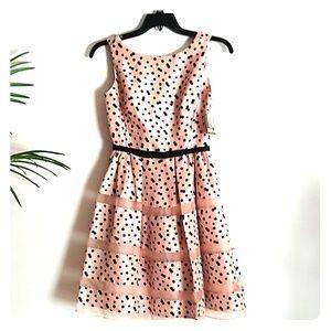 Taylor silk blush polka dot dress 2